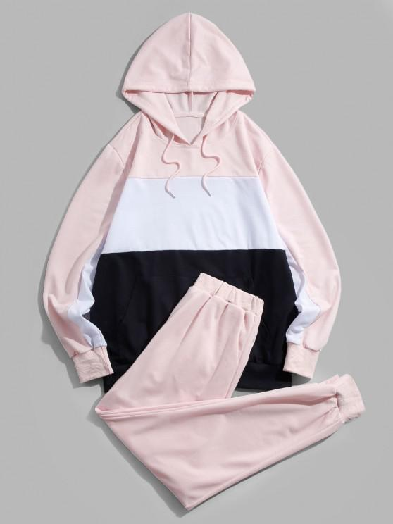 online ZAFUL Contrast Hoodie and Pants Two Piece Set - LIGHT PINK 2XL