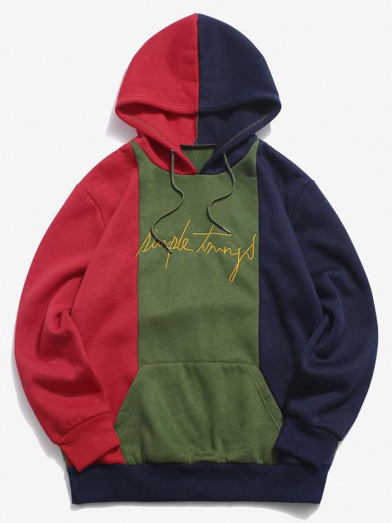 online ZAFUL Colorblock Panel Embroidery Letter Fleece Hoodie - RED 2XL