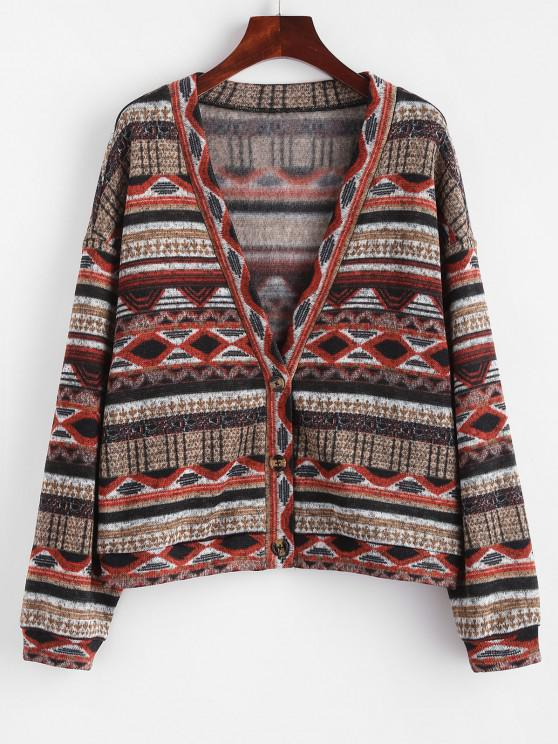 ZAFUL Fleece Lined Aztec Print Drop Shoulder Knit Cardigan - النمر البرتقالي L