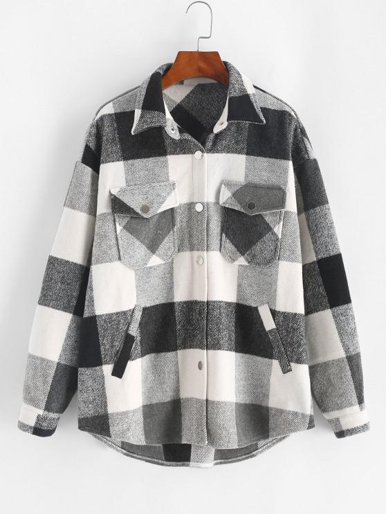 sale ZAFUL Plaid Print Button Up Wool Blend Jacket - BLACK M