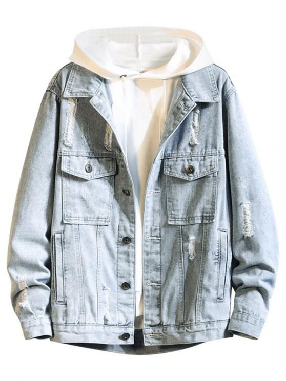 shops Distressed Multi Pockets Button Up Denim Jacket - LIGHT BLUE 2XL