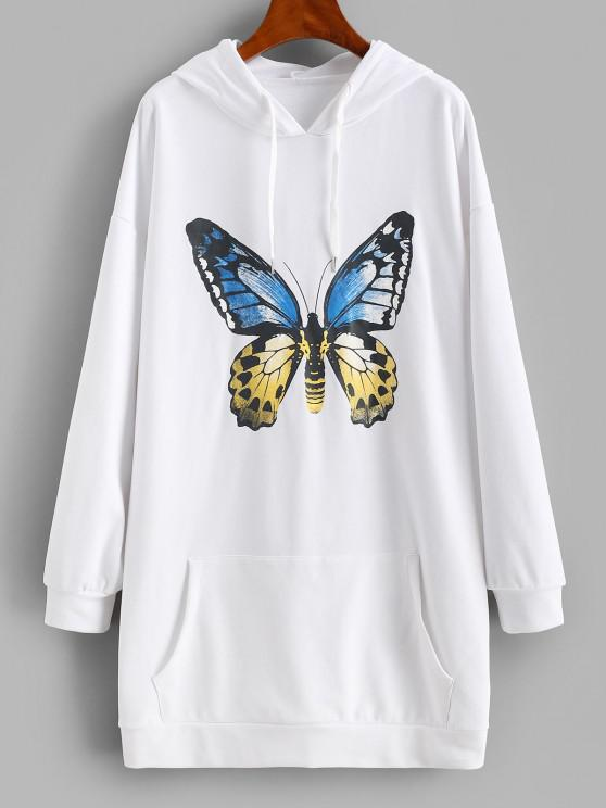 shop Front Pocket Butterfly Casual Hoodie Dress - WHITE M