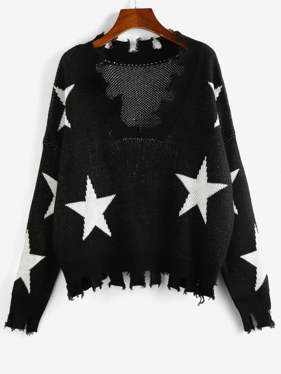 hot ZAFUL Star Drop Shoulder Frayed Jumper Sweater - BLACK S