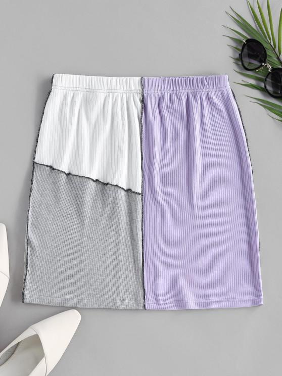 best ZAFUL Colorblock Stitching Bodycon Skirt - MULTI L