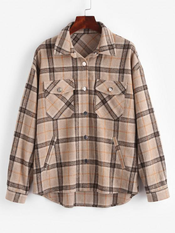 outfit ZAFUL Plaid Flap Pocket Drop Shoulder Shirt Jacket - TAN M