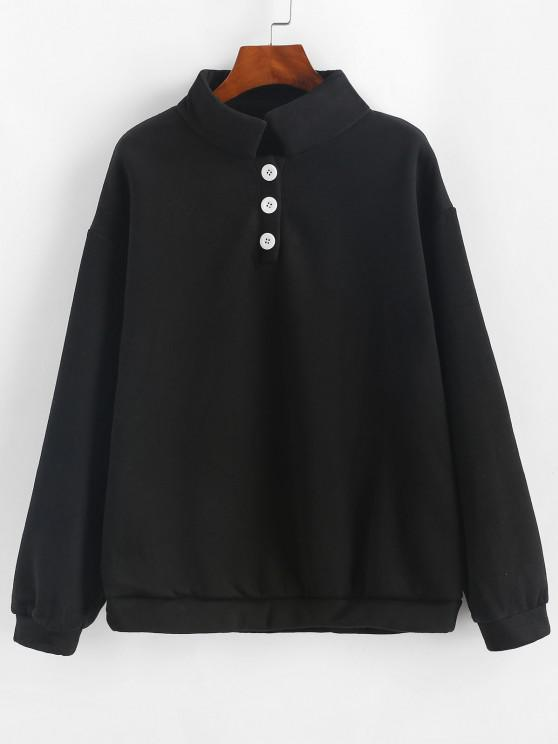 Fleece Lined Button Placket Pullover Sweatshirt - أسود L