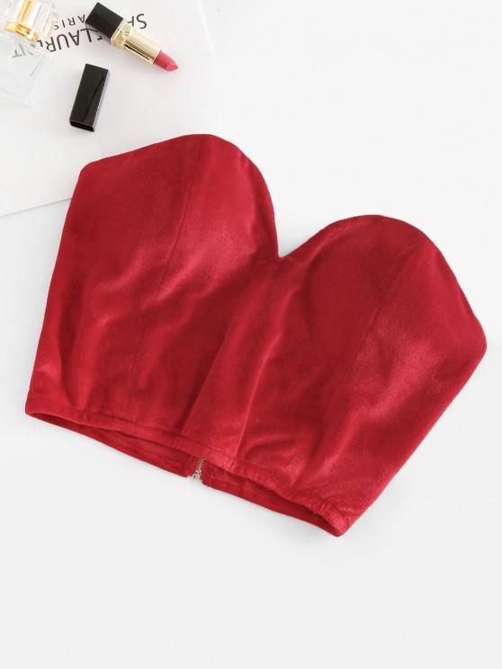 hot Non-slip Velvet Padded Sweetheart Bandeau Top - RED XL