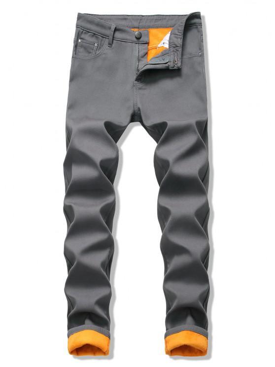 Long Straight Fleece Jeans - سفينة حربية رمادية 40