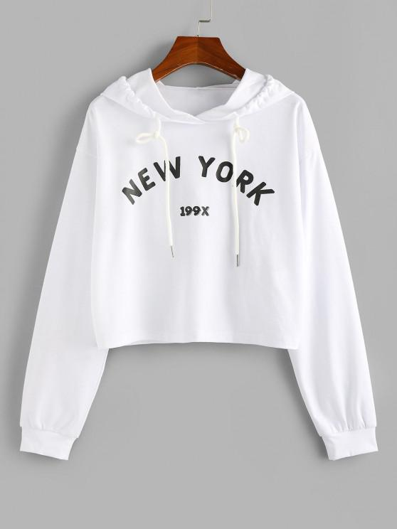 ZAFUL Letter Graphic Drawstring Cropped Hoodie - أبيض S