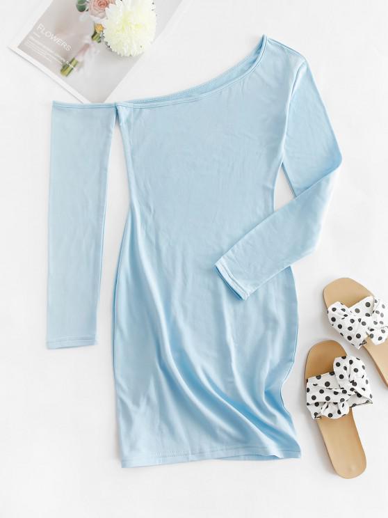 best Skew Collar Fleece Lined Bodycon Dress - LIGHT BLUE S
