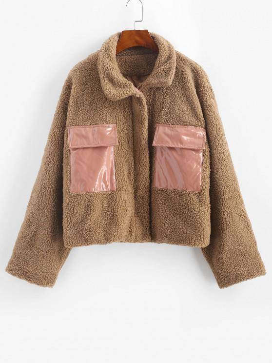 womens Faux Shearling Vinyl Flap Pocket Teddy Coat - COFFEE M
