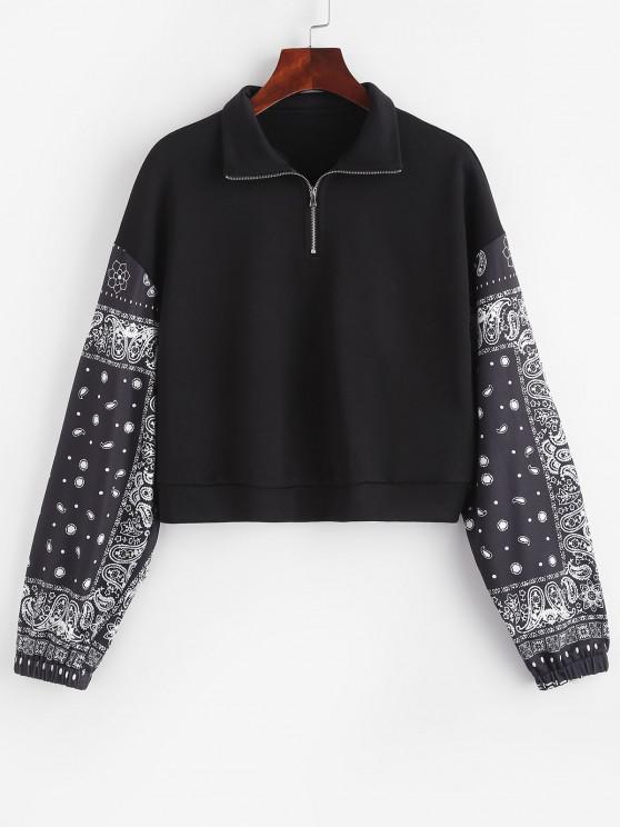 buy ZAFUL Paisley French Terry Quarter Zip Sweatshirt - BLACK S