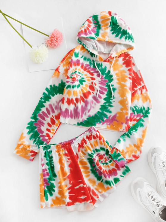 fancy Tie Dye Print Cropped Hoodie and Mini Shorts Set - RED M