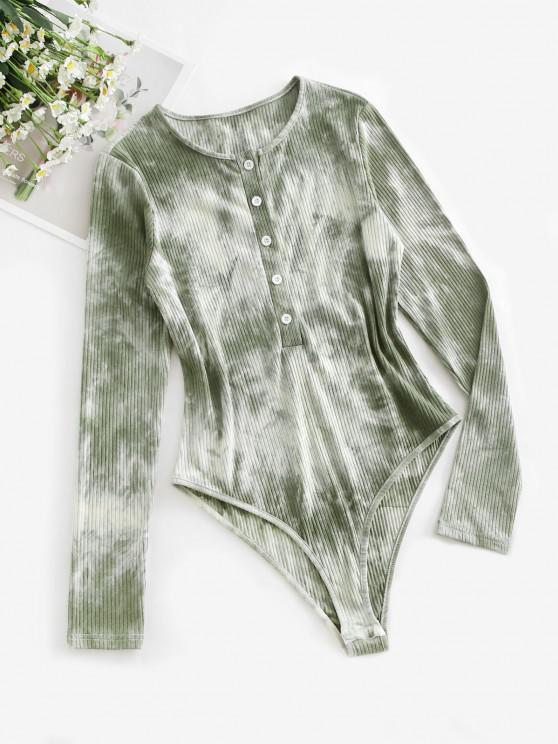 Half Button Ribbed Tie Dye Bodysuit - اخضر فاتح S