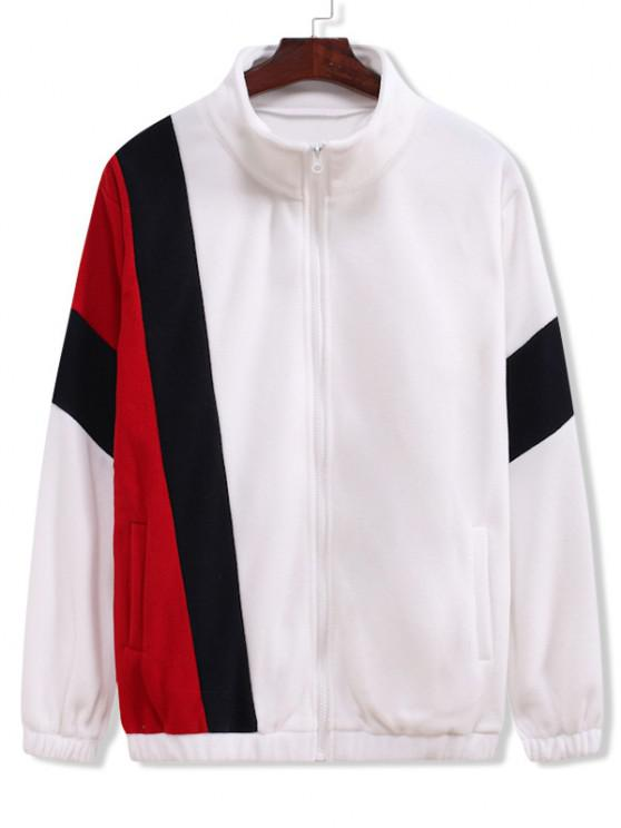 Zip Up Contrast Fleece Jacket - أبيض L