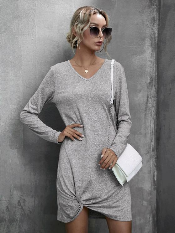 lady Heathered Twist Detail Tee Dress - GRAY S