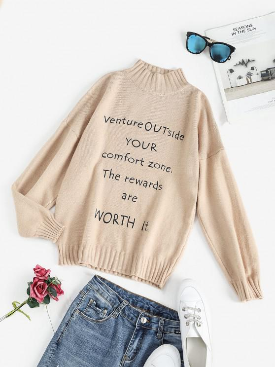 chic Mock Neck Slogan Graphic Drop Shoulder Sweater - LIGHT COFFEE ONE SIZE