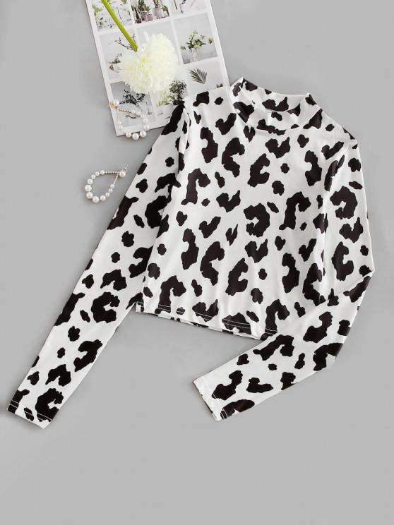 shop Mock Neck Cow Print Long Sleeve Baby Tee - WHITE S