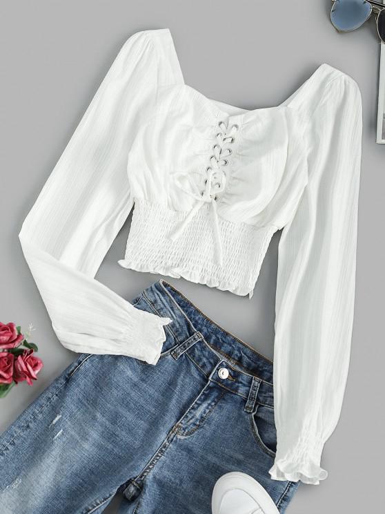 Blusa de Envolver Esguiada com Franzido - Branco L