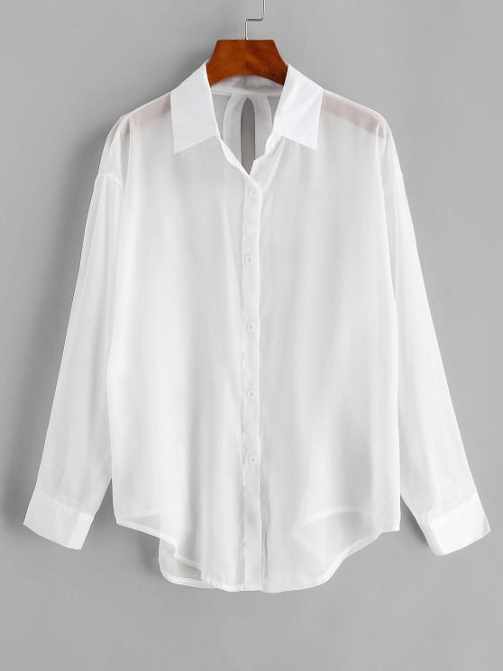 womens Split Tied See Thru Beach Shirt Cover Up - WHITE ONE SIZE