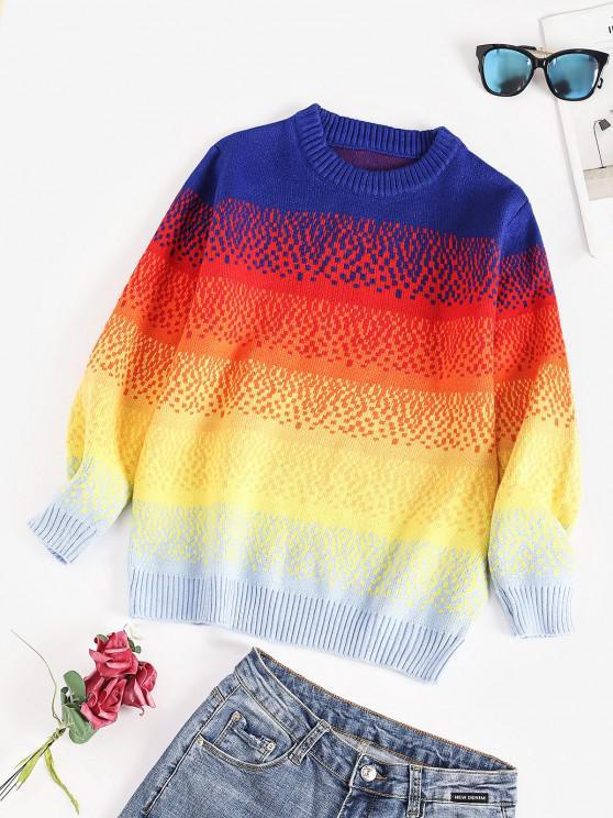 Camisola suéter gola redonda com marcas de Arco-íris - Multi Um Tamanho