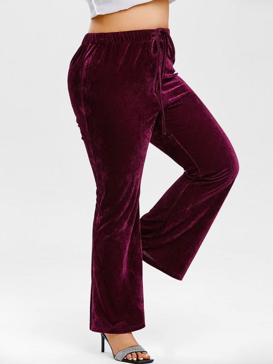 fancy Plus Size Velvet Drawstring Bootcut Pants - CONCORD 1X