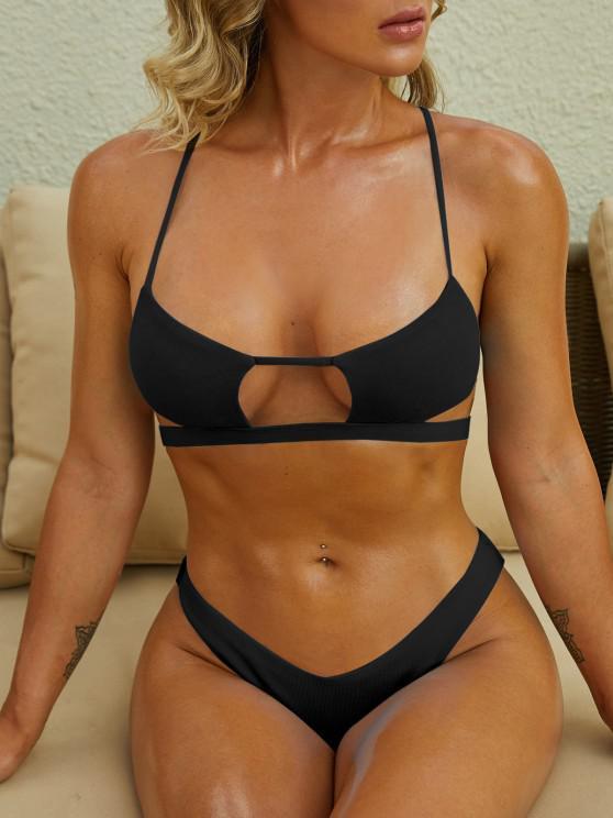 ladies ZAFUL Cutout Textured High Leg Bikini Swimwear - BLACK M