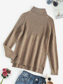 Turtleneck Raglan Sleeve Contrast Ribbed Sweater - Coffee