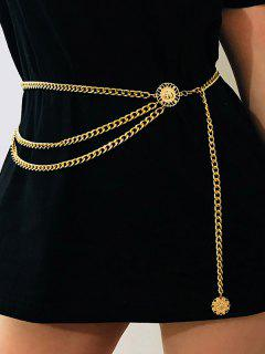Retro Coin Layered Waist Chain - Golden