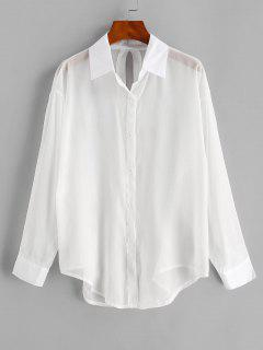 Split Tied See Thru Beach Shirt Cover Up - White