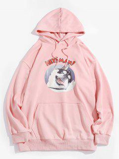 Cartoon Dog Graphic Front Pocket Casual Hoodie - Pink M