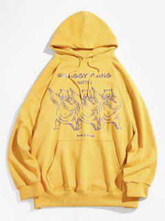 Cartoon Bear Graphic Pouch Pocket Casual Hoodie - Bright Yellow L