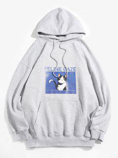 Netter Feline Gaze Graphic Tropfen Schulter Lässiges Hoodie - Hellgrau 3xl