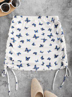 Cinched Tied Butterfly Print Short Skirt - Blue