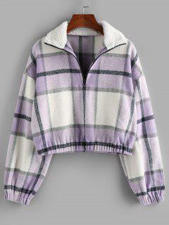 ZAFUL Plaid Half Zip Teddy Collar Drop Shoulder Sweatshirt - Mauve S