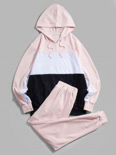 ZAFUL Contrast Hoodie And Pants Two Piece Set - Light Pink Xl