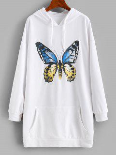 Front Pocket Butterfly Casual Hoodie Dress - White L