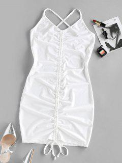 ZAFUL Cinched Criss Cross Bodycon Dress - White L