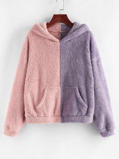 ZAFUL Two Tone Plush Faux Fur Pocket Hoodie - Rose L