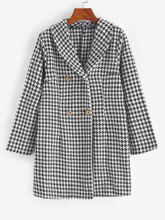 Double Breasted Houndstooth Tweed Coat - Black Xl