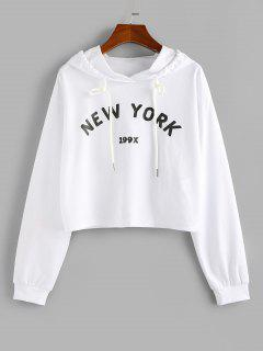 ZAFUL Letter Graphic Drawstring Cropped Hoodie - White M