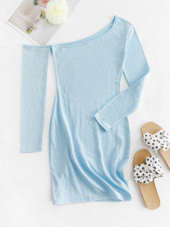 Skew Collar Fleece Lined Bodycon Dress - Light Blue S
