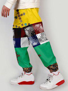 Bandana Plant Tribal Print Colorblock Pants - Multi-a Xs