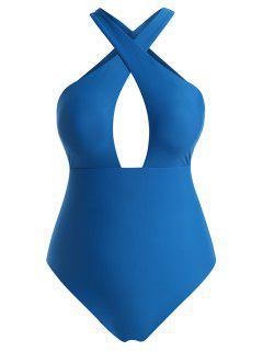 ZAFUL  Plus Size Criss Cross One-piece Swimsuit - Blue Xxxxl