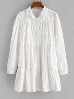 ZAFUL Long Sleeve Casual Shirt Dress - White S