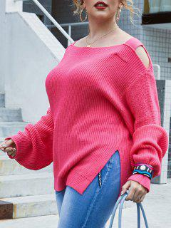 Plus Size Exposed Shoulder Slit Lantern Sleeve Sweater - Light Pink 3x