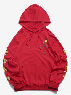 Kangaroo Pocket Flower Print Graphic Hoodie - Red M