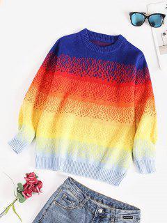 Crew Neck Rainbow Colorblock Sweater - Multi
