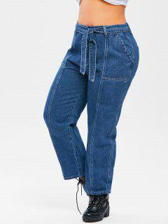 Plus Size Belted Topstitching Wide Leg Jeans - Deep Blue L
