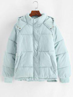 Hooded Raglan Sleeve Pocket Zip Puffer Coat - Light Blue S